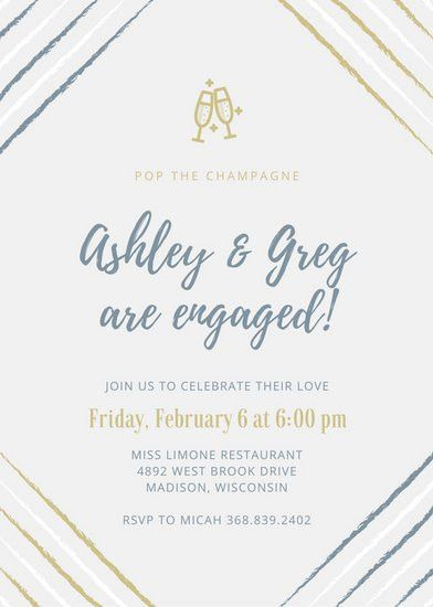 Blue and Gold Champagne Engagement Party Invitation - Templates by ...