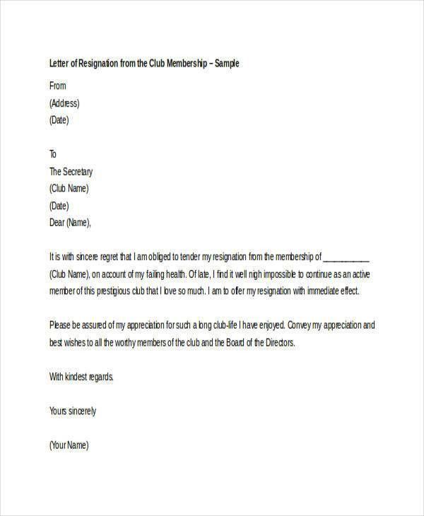 Membership Resignation Letters Template - 8+ Free Word, PDF Format ...