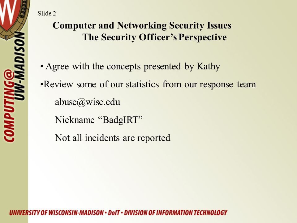 Computer and Network Security Issues –the Security Officer's ...