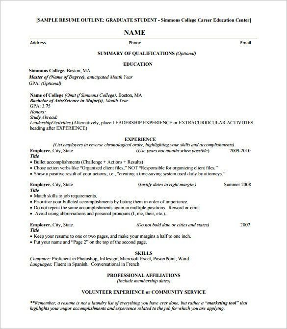 Resume Outline Example 6 Creating Your Is Now Easier Than You Can ...