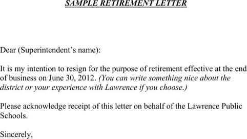 Retirement Letter Sample for Excel, PDF and Word