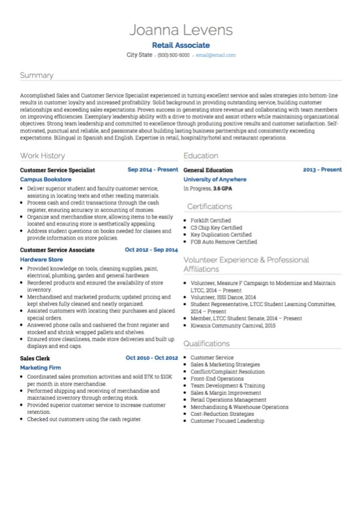 Retail CV examples and template