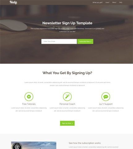 Nedy - Bootstrap Newsletter Sign-Up Landing Page | AZMIND