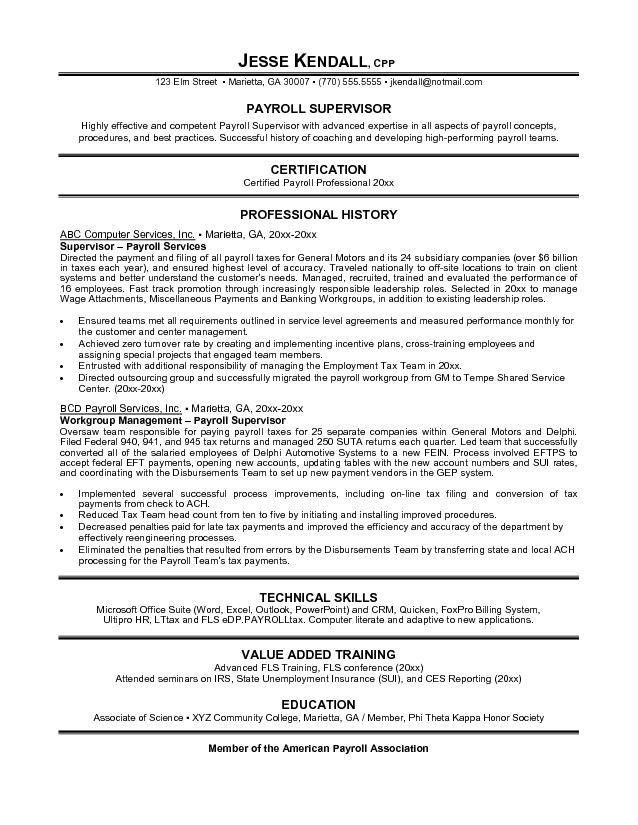 Free Payroll Supervisor Resume Example