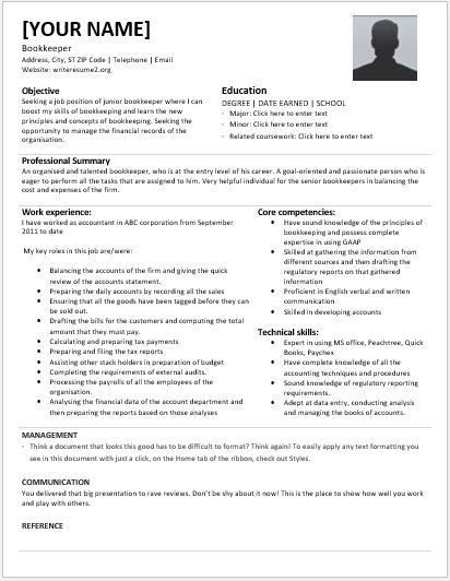Junior Bookkeeper Resumes for MS Word | Resume Templates