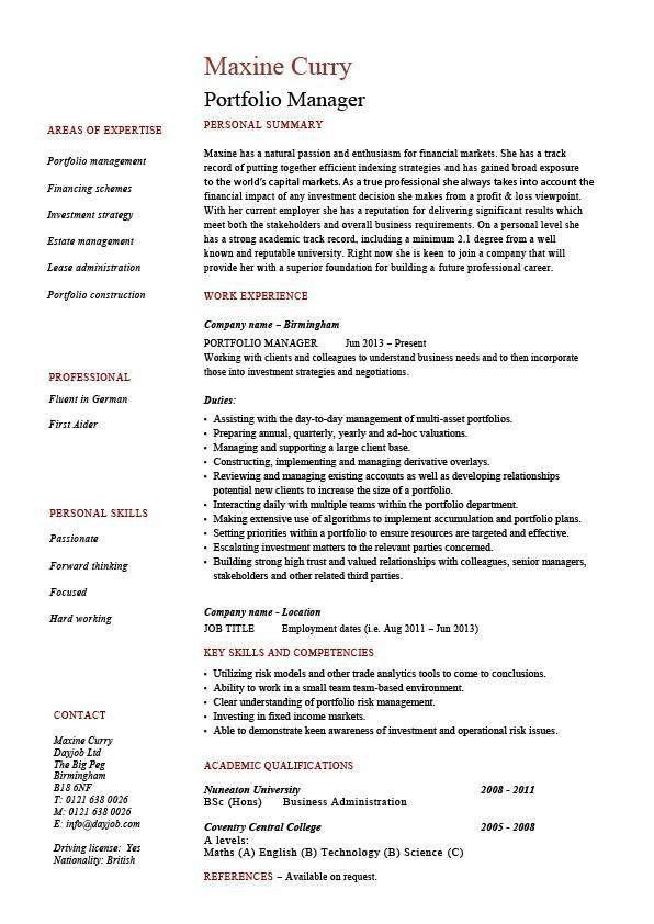 Portfolio manager resume, investments, CV, job description ...