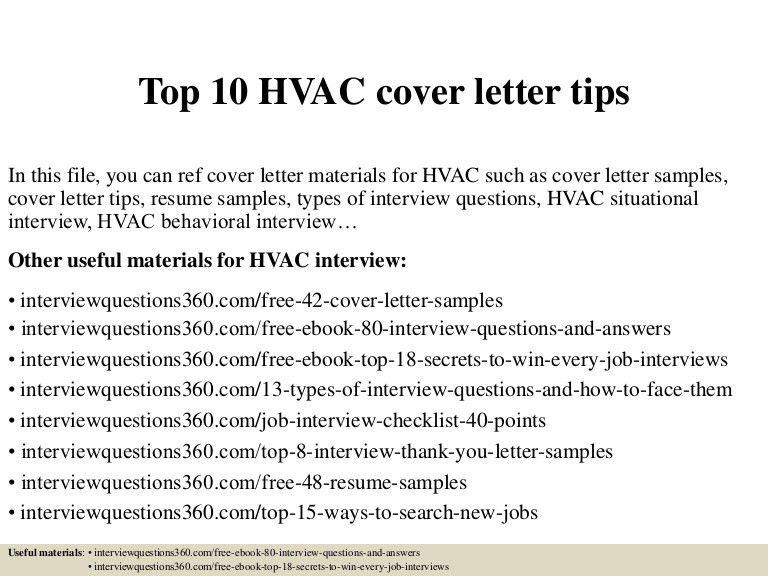 Top 10 hvac cover letter tips
