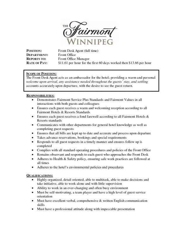 front desk agent resume sample professional hotel front desk