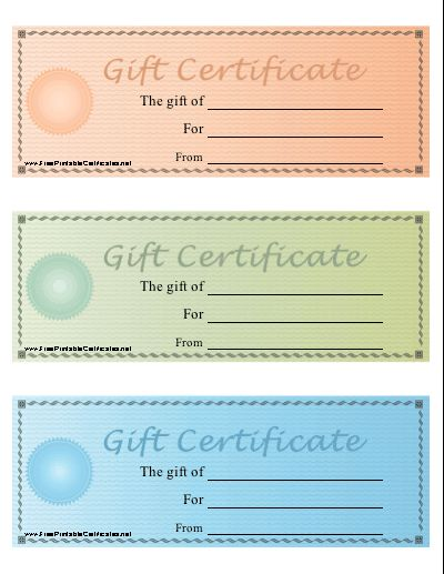 A set of three printable gift certificates on one sheet in pastel ...