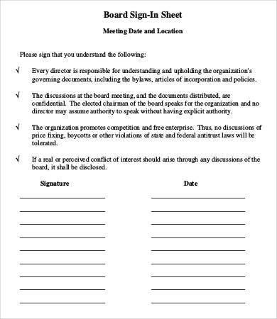 Meeting Sign In Sheet Template - 9+ Free Word, PDF Documents ...