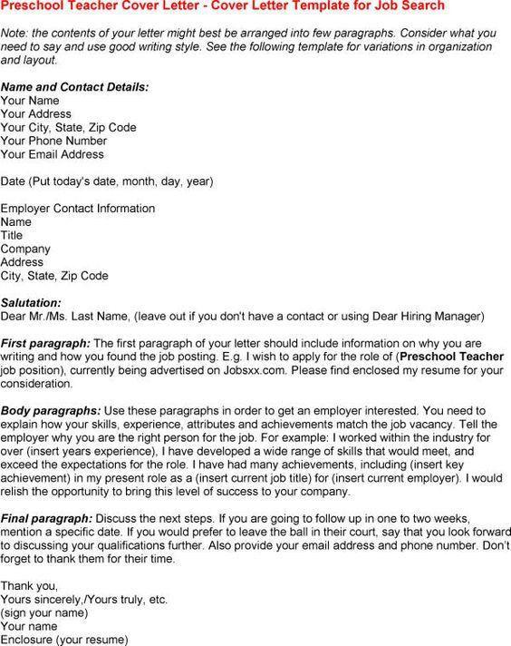 Preschool Teacher Cover Letter - My Document Blog