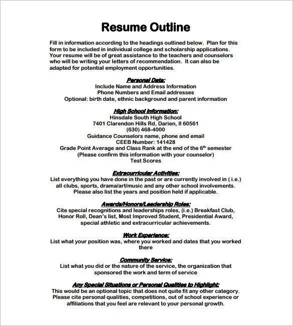 Outline Of A Resume | haadyaooverbayresort.com