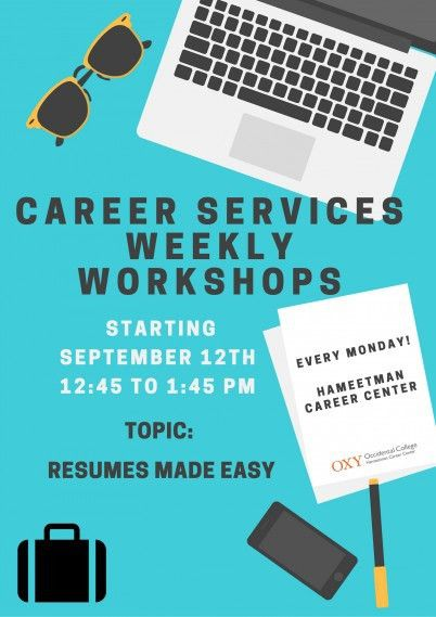 HCC Weekly Workshop: Resume and Cover Letters | Occidental College ...
