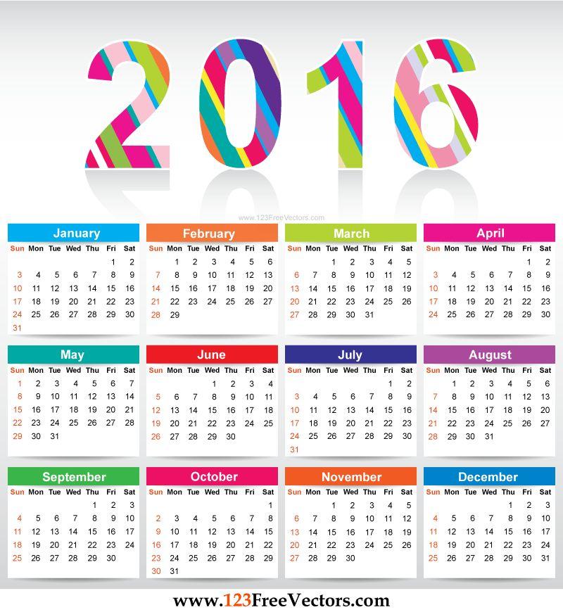 Free Download Printable Colorful Calendar 2016 Vector Template ...