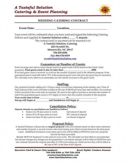 sample catering contracts