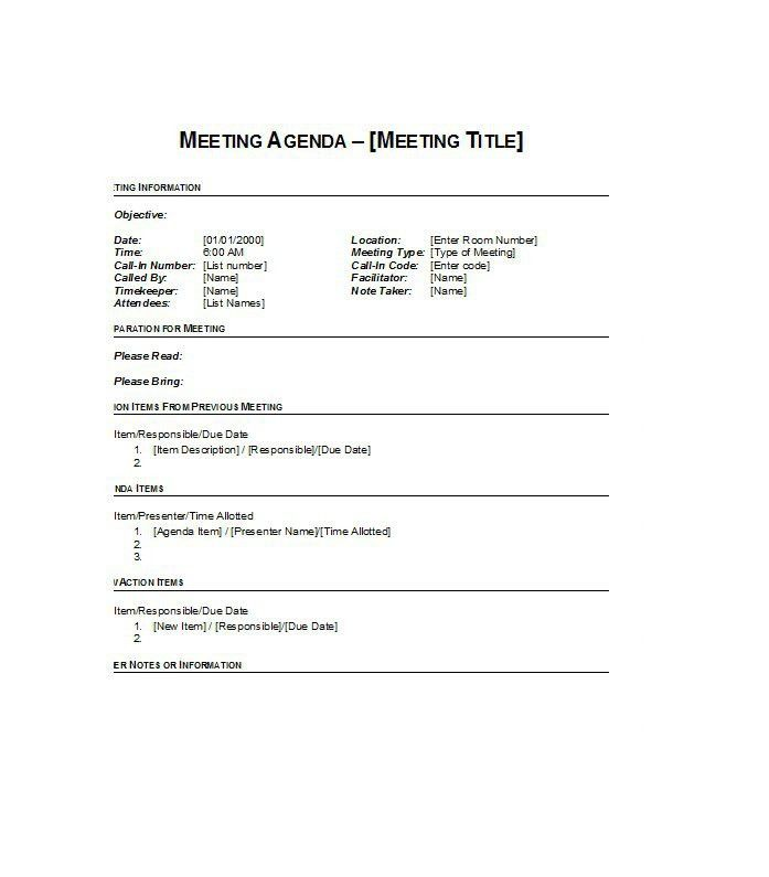 Excellent Meeting Agenda Template Sample with Information Detail ...