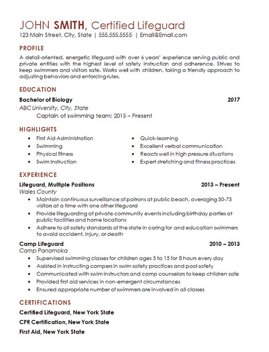 Certified Lifeguard Resume Example - Freelance Professional