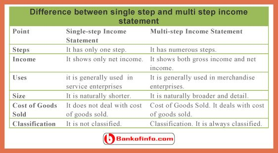 multiple step income statement | bio example