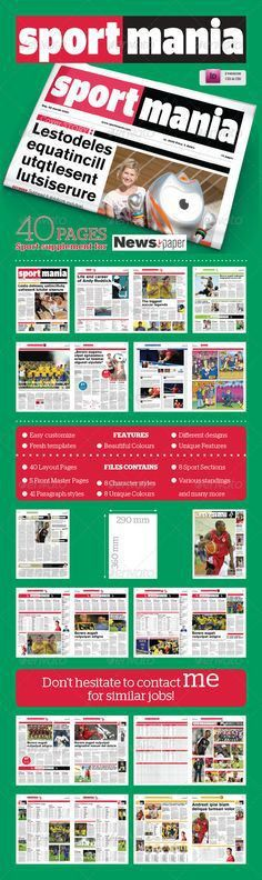 20 Page Newspaper InDesign v2 | Indesign templates, Newspaper and ...