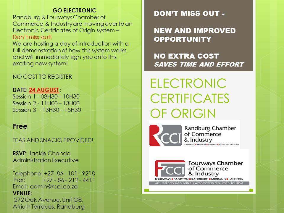Electronic Certificates of Origin