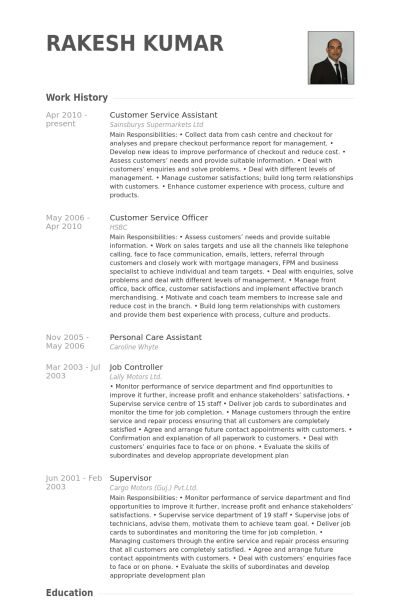 Customer Service Assistant Resume samples - VisualCV resume ...