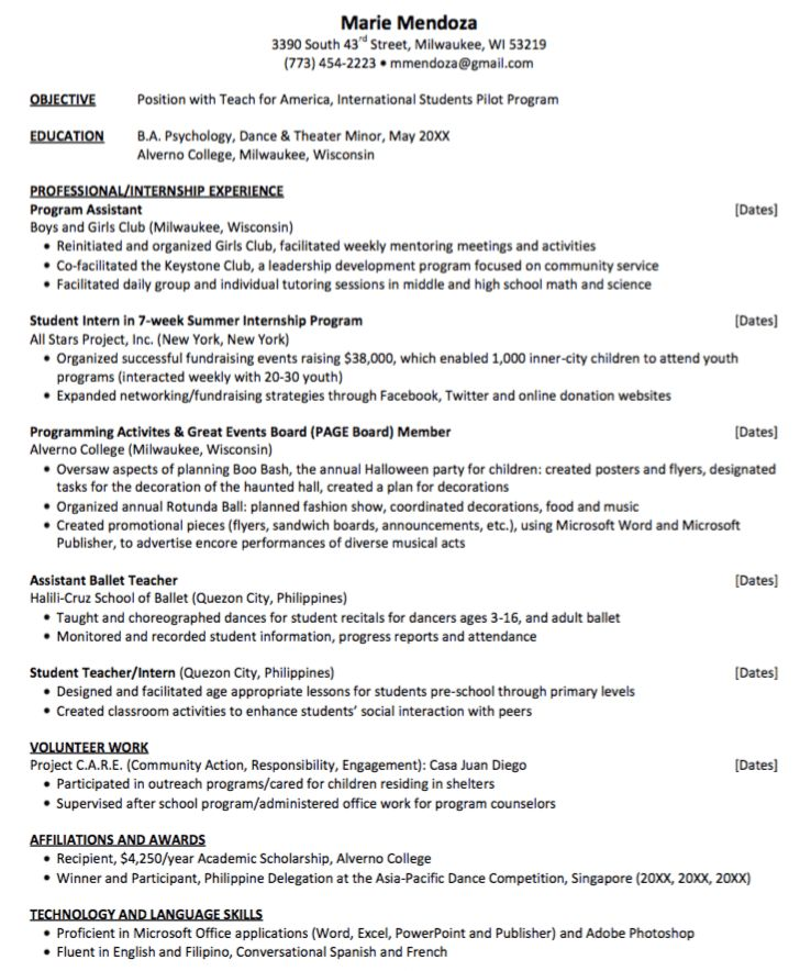 teach for america resume sample - http://exampleresumecv.org/teach ...