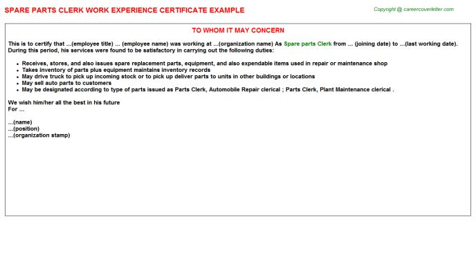 Spare Parts Clerk Work Experience Certificate