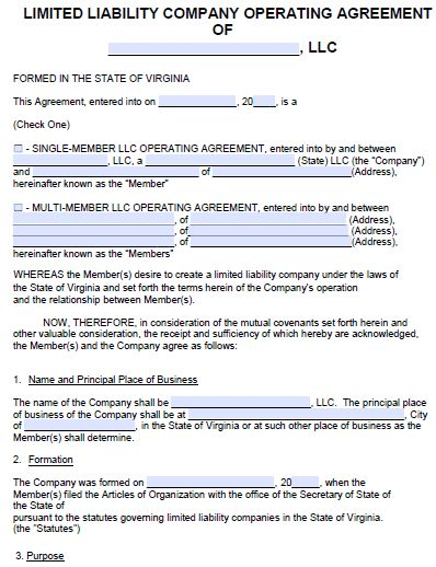 Free Virginia LLC Operating Agreement Template | PDF | Word |