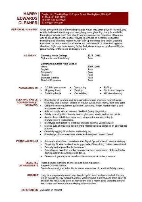 Student entry level Cleaner resume template