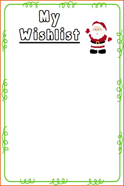 5+ christmas list template free - bookletemplate.org
