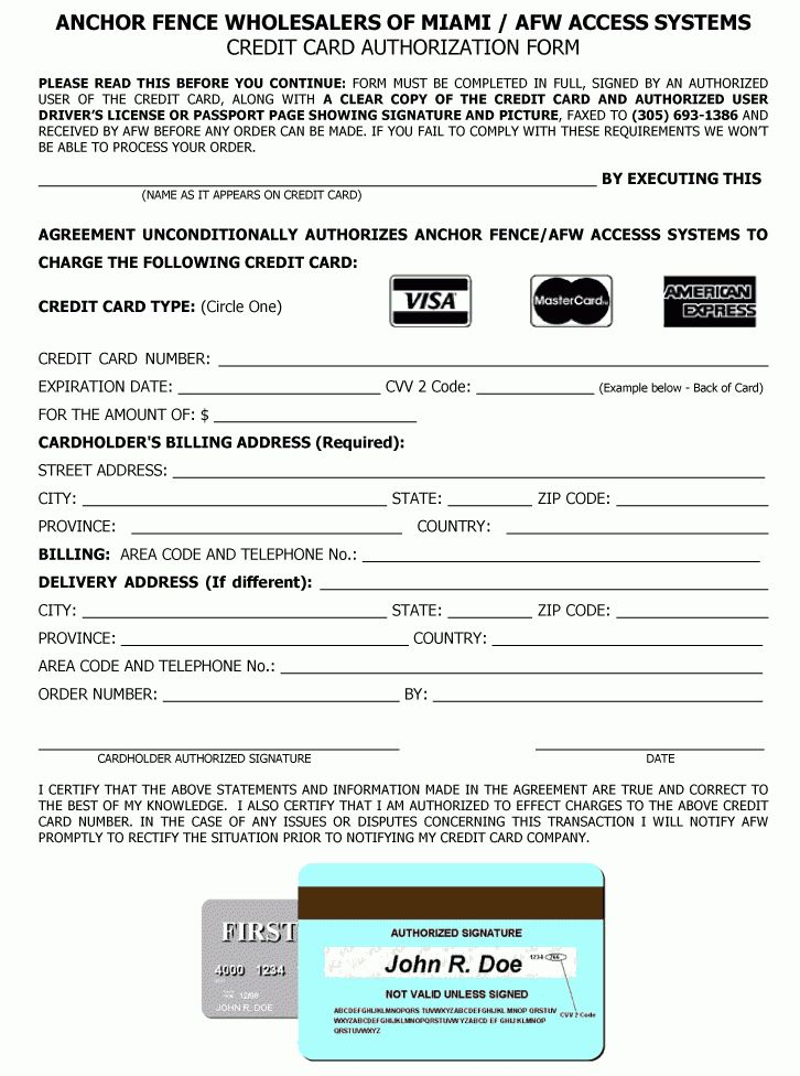 11+ credit card authorization form pdf | Letter Template Word