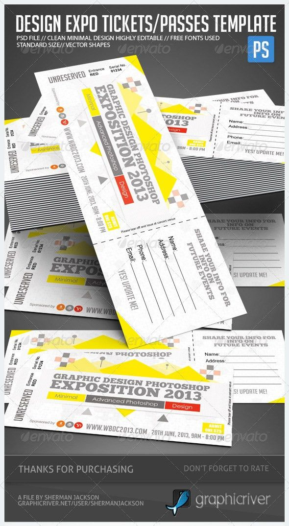 Event Ticket Designs Graphics, Designs & Templates