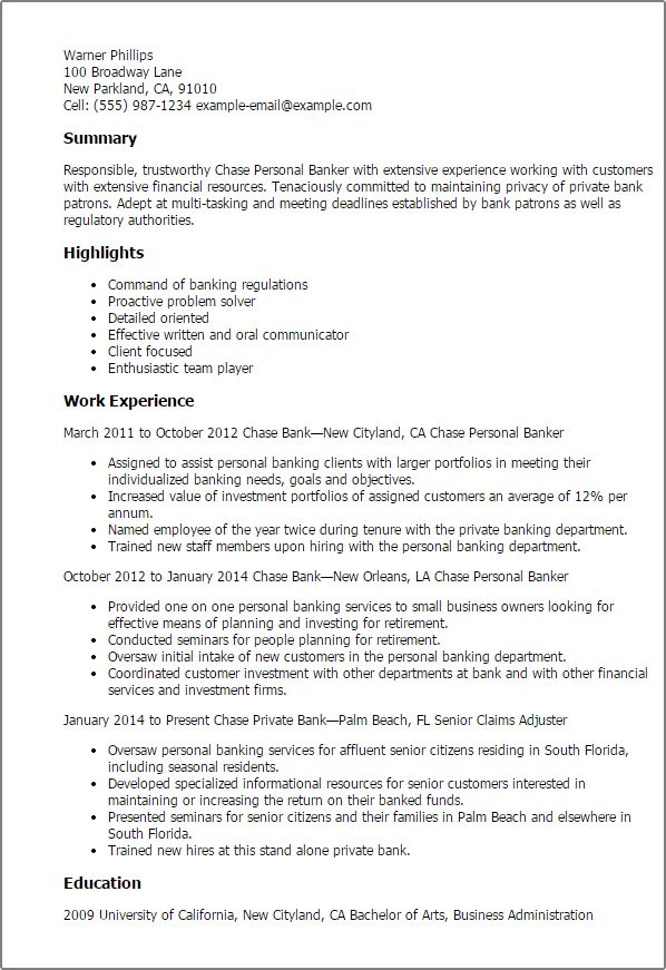 Personal Banker Resume Objectives Resume Sample - Writing Resume ...