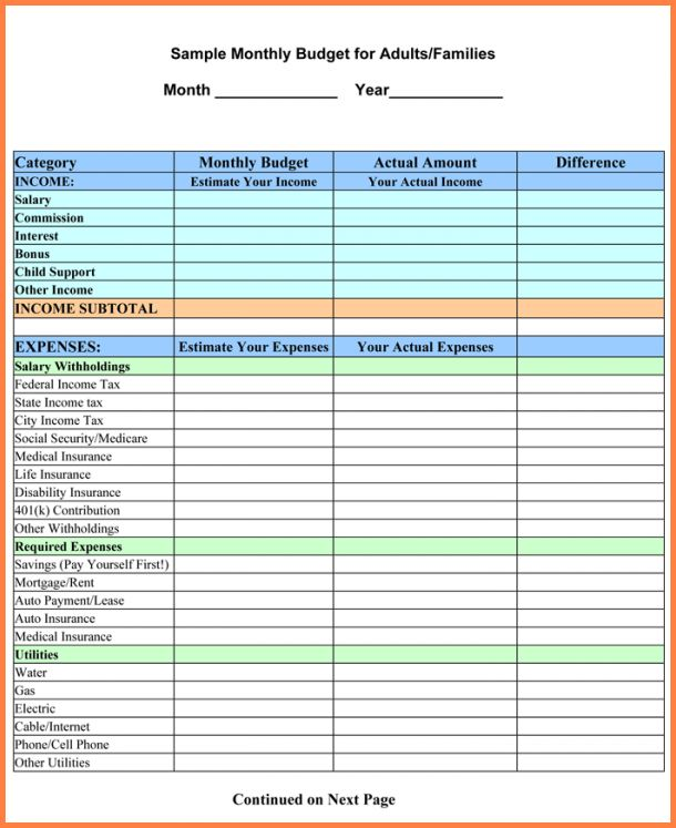 8+ home monthly budget spreadsheet | Excel Spreadsheets Group