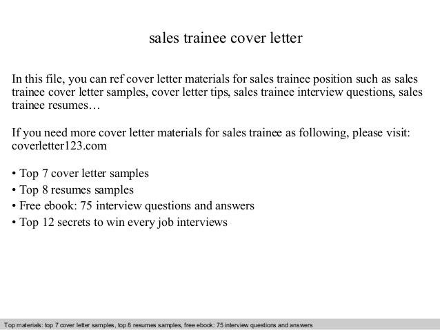 Sales trainee cover letter