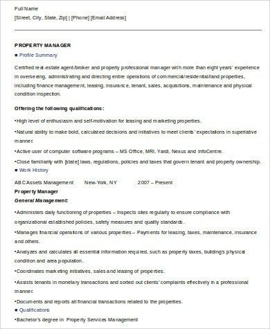 Sample Property Management Resume - 8+ Examples in Word, PDF