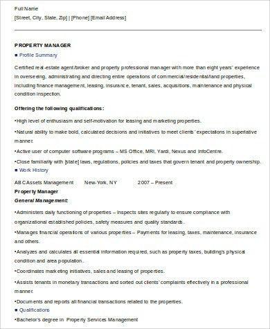 property manager sample resume manager resume property manager