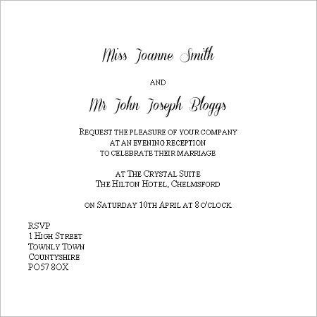 Evening Wedding Invitation Wording Template | Best Template Collection