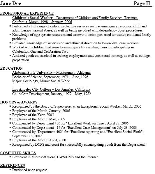 Social Worker Resume Samples Free - Gallery Creawizard.com