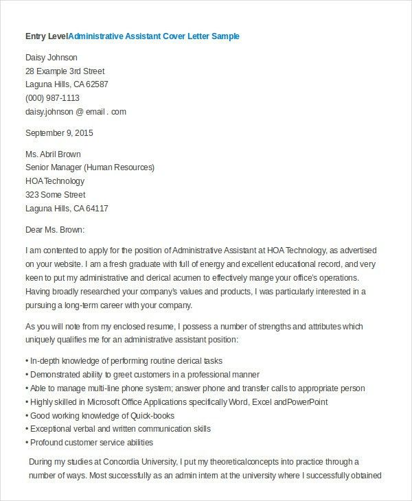 Administrative Assistant Cover Letter - 8+ Free Word, PDF ...