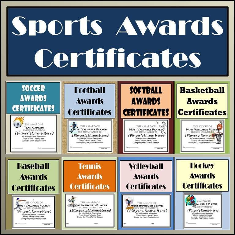 Sports Awards Bundle: Certificates & Ballots - Eight Different ...