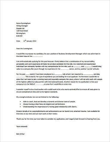 business development and software sales cover letter. cover note ...