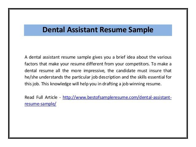 dental assistant resume objective examples dental assistant