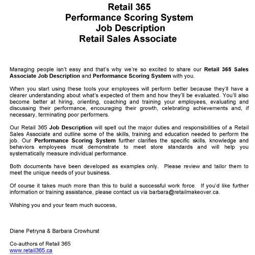 Performance Scoring System Job Description Retail Sales Associate ...