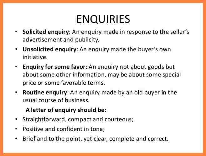 7+ enquiry letter example | Bussines Proposal 2017