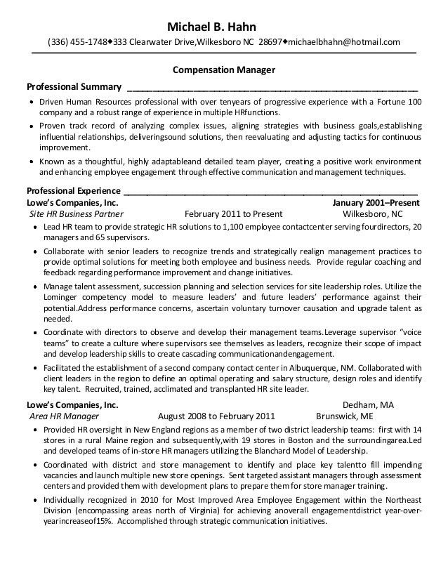Michael Hahn Resume - Comp & Benefits
