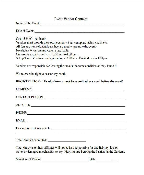 Sample Vendor Contract. Free Download 10+ Vendor Application ...