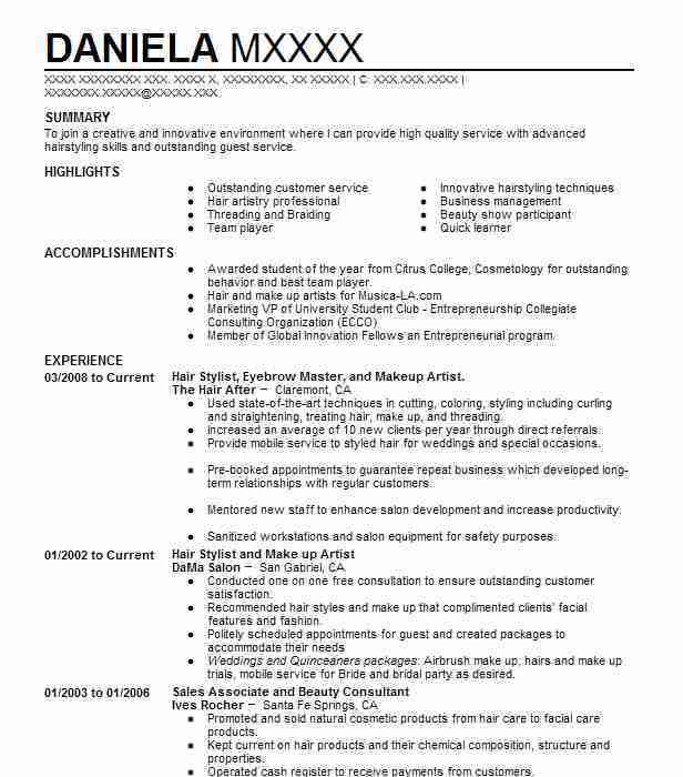 Best Hair Stylist Resume Example | LiveCareer