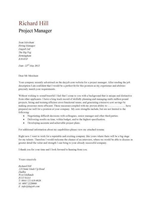 sample project manager cover letter