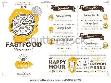 Breakfast Menu Placemat Food Restaurant Brochure Stock Vector ...